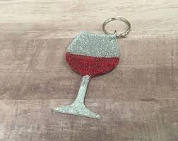 wine glass keychain etsy