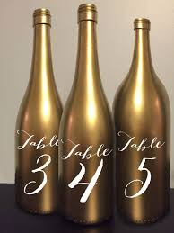 gold wine bottle table numbers table number wine bottle gold wedding centerpiece reception decor