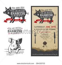 Backyard Bbq Party Menu Barbecue Party Invitation Bbq Template Menu Stock Vector 285474941