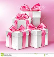 realistic 3d white gifts with colorful gold ribbons stock vector