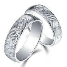 couple rings silver images Beautifully textured fingerprint 925 sterling silver couple rings jpg
