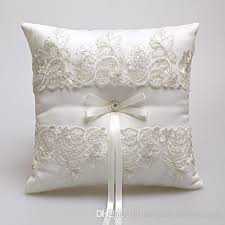 ring pillow 2018 2017 new wedding ring pillows beige satin lace ring bearer