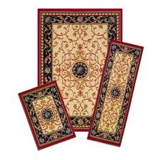 Navy Blue Bathroom Rug Set by Capri Capri Wrought Iron Medallion 5 Ft X 7 Ft 3 Piece Rug Set