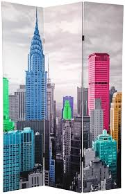 New York Room Divider Furniture 70 88 X 47 Colorful New York 3 Panel