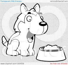 cartoon of a black and white cute husky puppy dog with a food bowl
