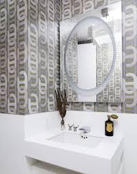 Bathroom Wallpaper Modern Design Ideas Modern Bathroom With Geometric Wallpaper High End