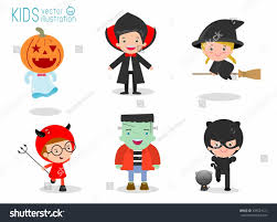 kid halloween background cute kids wearing halloween monster costume stock vector 439524121