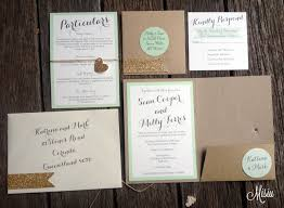 wedding invitation set mint and glitter gold pocket folder wedding invitation set misiu