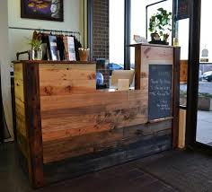 Reclaimed Wood Reception Desk Wood Plank Reception Desk Craftsman Style And Concrete For Yoga