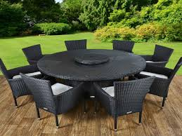 Garden Chairs 8 Rattan Garden Chairs And Large Round Table Set In Black And Vanilla