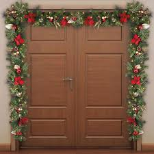 led lighted garland 9 artificial decorated door