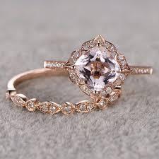 vintage wedding ring sets 2pcs morganite bridal ring set engagement ring gold diamond