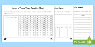 Learn Times Tables Learn A Times Table Practice Activity Sheet Worksheet