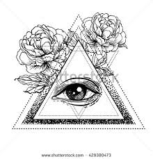 blackwork tattoo flash all seeing eye stock vector 429380473