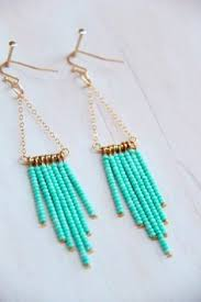 easy earrings beautiful light teal drop earrings made of soft chain seed