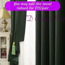 blockout jade green bedroom door fabric drapes sheer eyelets rod
