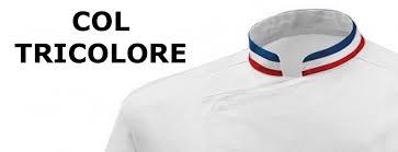 veste de cuisine personnalisé veste de cuisine mof col bleu blanc broderie possible