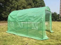 poylytunnel greenhouse with steel tube pe greenhouse with green