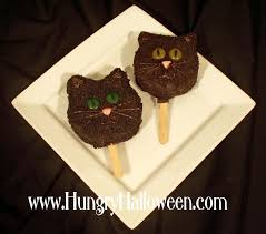 Halloween Chocolate Cake Recipe Rice Krispies Treat Black Cat Pops Hungry Happenings
