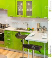 modern green kitchen clean interior design stock photo image