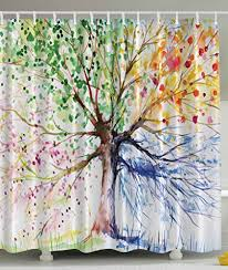 Yellow And Navy Shower Curtain Colorful Tree Four Seasons Shower Curtain Berry Green Red Yellow