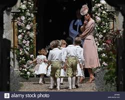 the duchess of cambridge arrives with pageboys and flower girls