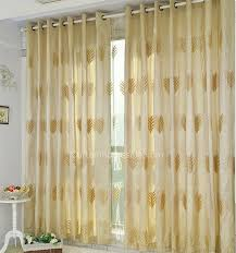 leaf patterns embroidery bedroom blackout yellow gold curtains