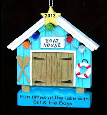 boat house hand personalized christmas ornaments by russell rhodes