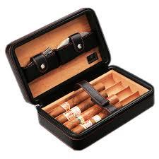 luxury cohiba cigar box case hold 4pcs cigars genuine leather wood