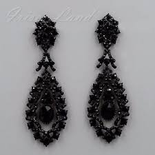 black dangle earrings black alloy jet rhinestone chandelier drop dangle earrings