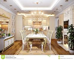 luxurious classic baroque kitchen and dining room stock