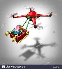 drone holiday gifts delivery as a christmas sled concept