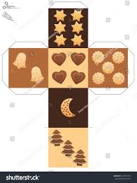 christmas cookie dice template cube cookies stock vector 742367374