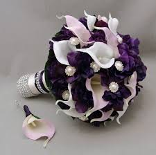 purple calla lilies purple lavender real touch calla wedding bouquet real touch