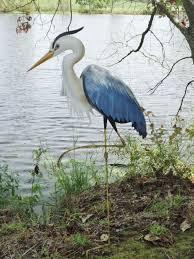 garden statue metal coastal bird outdoor crane egret pond yard