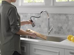 touch technology kitchen faucet delta esque pull down touch single handle kitchen faucet with