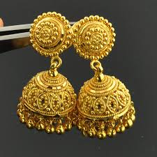 kerala style jhumka earrings 22k solid yellow gold post earrings with backs pair gold indian