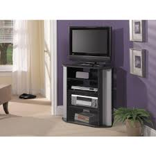 Led Tv Stands And Furniture Leaning Black Wood Tall Tv Stand For Bedroom With Three Shelves