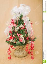 christmas money tree decoration burlap background stock photo