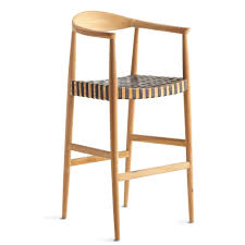 Teak And Woven Leather Bar Stool Black Leather Bar Stools