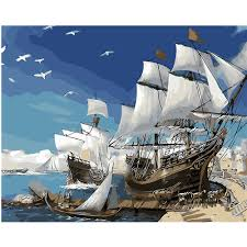sailboat home decor online shop high quality oil painting by number european big