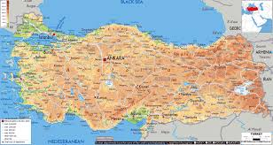 World Physical Map by Large Physical Map Of Turkey With Roads Cities And Airports