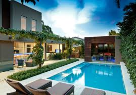 backyard modern minimalist nature house design with outdoor pool