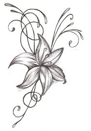 grey and white lily flower tattoo design