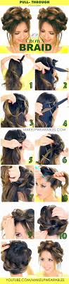 braided hairstyle instructions step by step pull through crown braid updo cute hairstyles makeupwearables