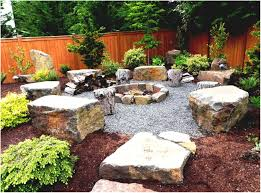 backyards trendy natural landscaping fire pit designs for