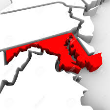 Map Of Maryland State by A Red Abstract State Map Of Maryland A 3d Render Symbolizing