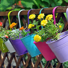 candy metal iron flower pot hanging balcony garden plant planter