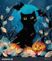 black cat halloween background happy halloween illustrationspooky background autumn tree stock
