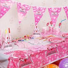 2018 pink crown princess theme tableware party decoration children